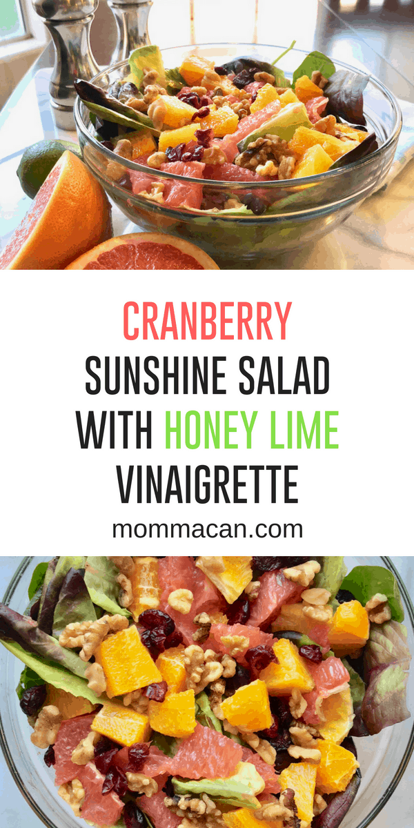 Cranberry Sunshine Salad with Honey Lime Vinaigrette the best summer salad! #salad #oranges and grapefruit