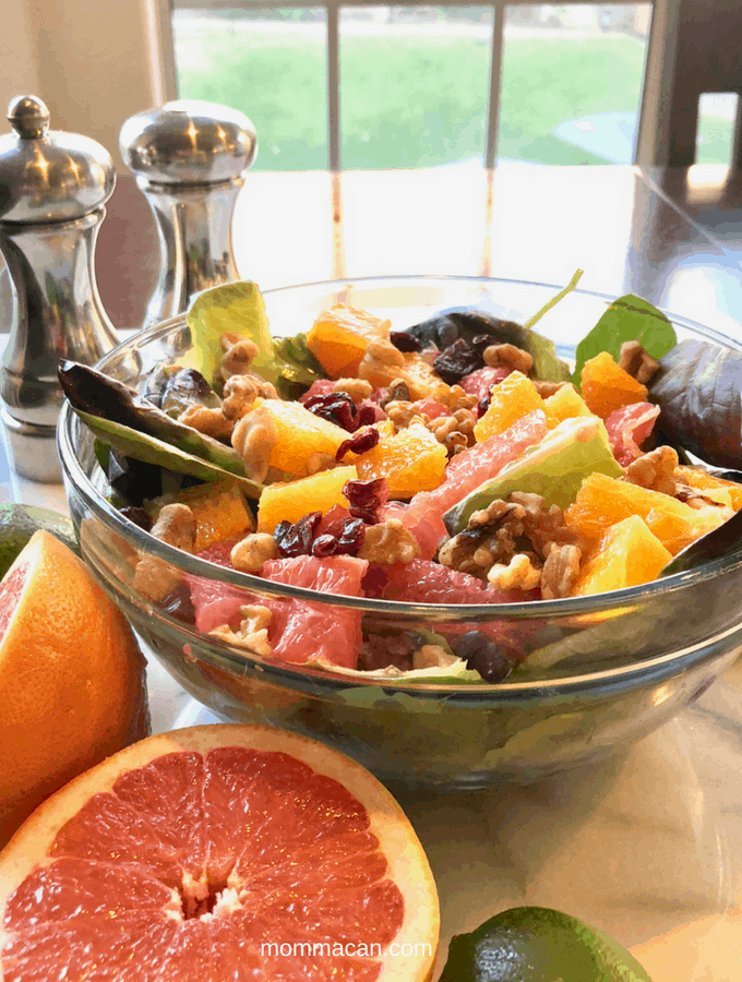 Cranberry Sunshine Salad with Honey Lime Vinaigrette