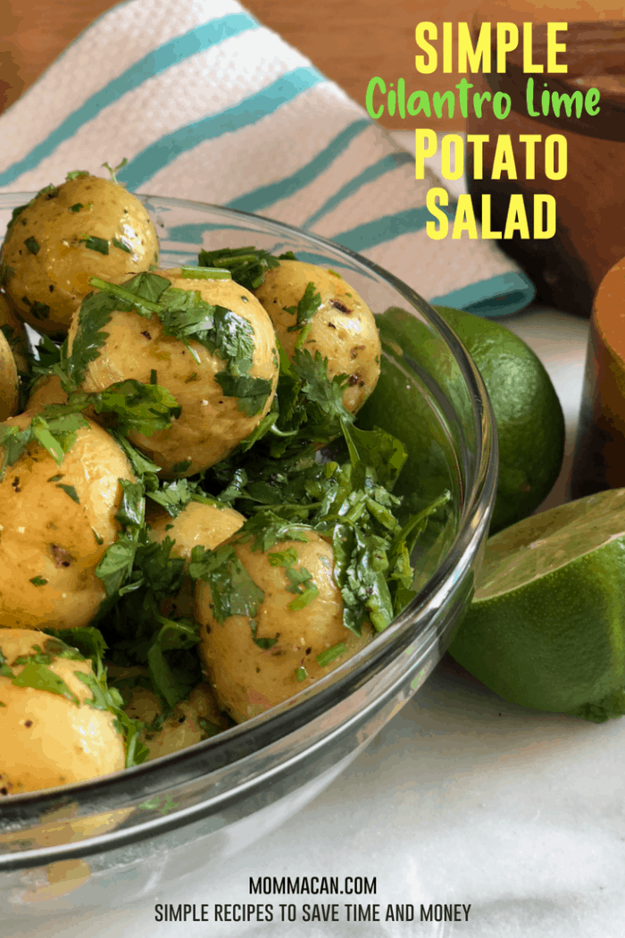 Simple Cilantro Lime Potato Salad Recipe: olive oil, fresh lime juice, lime zest, , chopped cilantro. Healthy, gluten-free recipe. #simplepotatoes #potatosalad #nomayo
