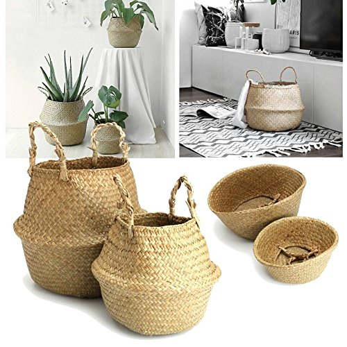 Natural Seagrass Belly Basket Panier Storage Plant Pot Collapsible Nursery Laundry Tote Bag with Handles