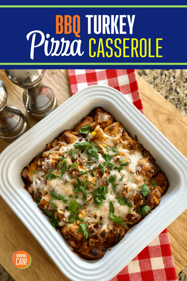 BBQ Turkey Pizza CasseroleRecipe - Biscuit Pizza Casserole Recipe - - only 5 ingredients and ready in under 30 minutes! Refrigerated biscuits tossed in BBQ sauce turkey, with shredded cheddar with optional cilantro garnish. Our family loves this casserole!