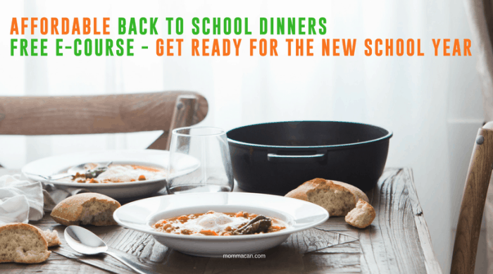 Cheap Back To School Dinner Ideas | Free Get Organized for the NEw School Year Course | Back To School Dinners