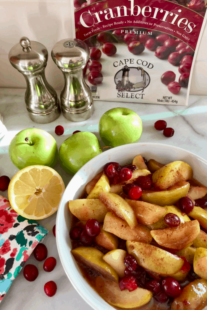 The Best Recipe Country Fried Apples and Cranberries #capecodselect, #frozencranberries, #cranberriesforallseasons