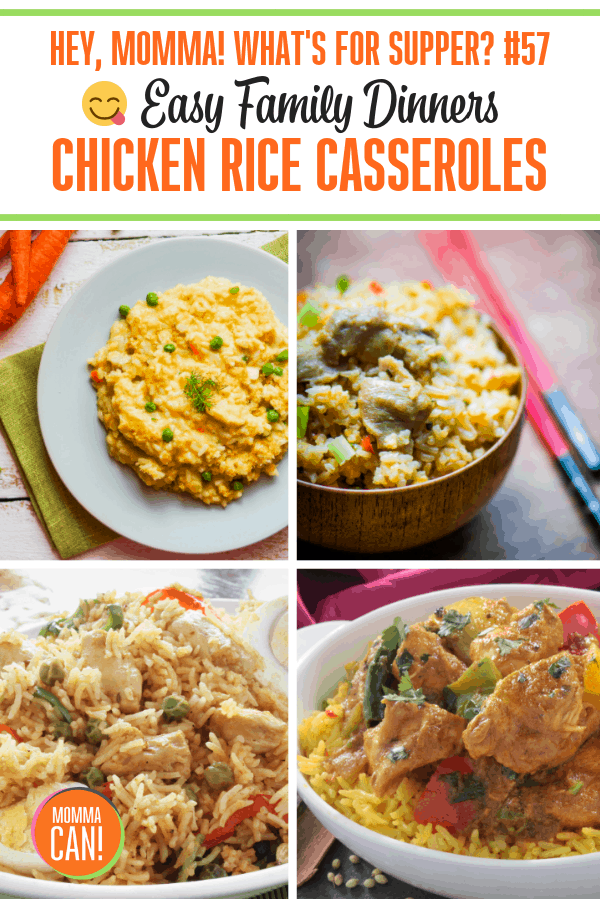 This week at momma's house we are sharing delicious and easy chicken rice casseroles! We are having two of our favorites this week for supper and freezing portions for lunches on the weekends. These simple dishes are so comforting on rainy, cool nights.