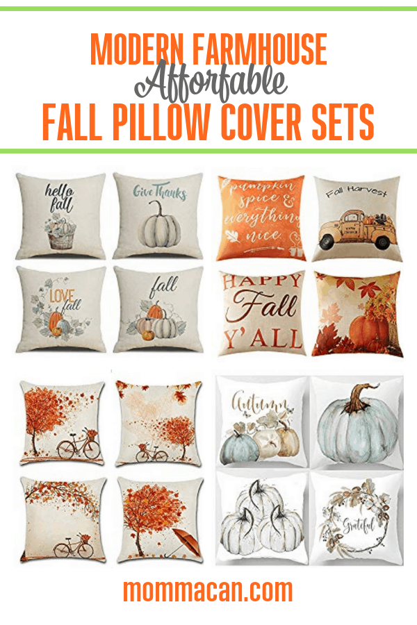 Modern Farmhouse Affordable Fall Pillow Cover Sets are a simple way to decorate for the fall!
