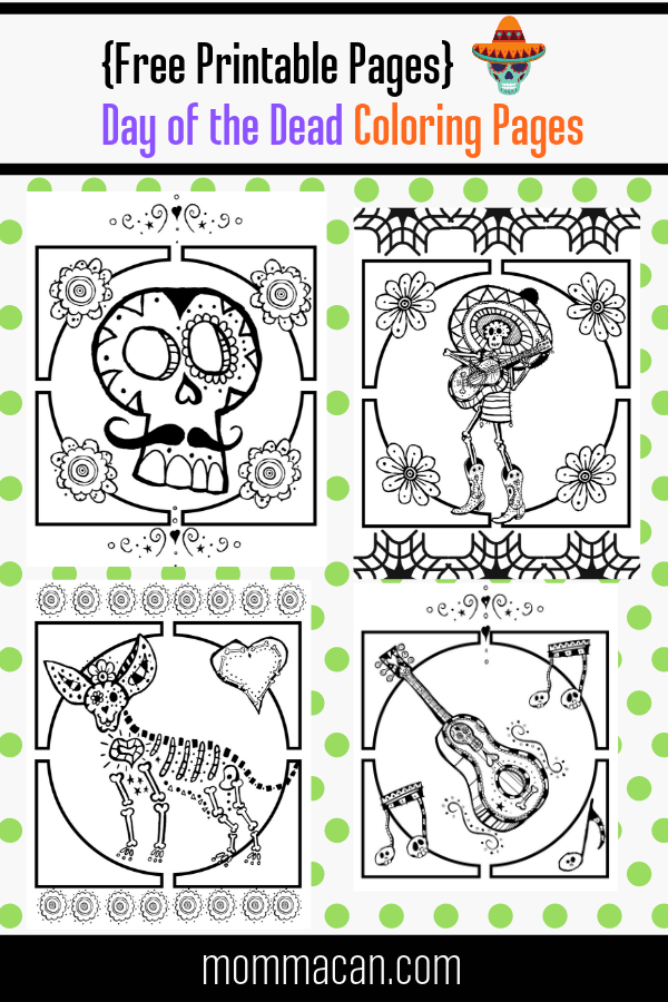 Free day of the dead coloring pages for kids and adults!