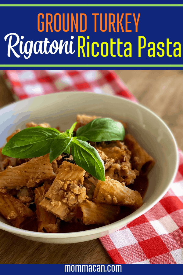 This amazing Ground Turkey Rigatoni Ricotta Pasta Bake is the perfect family dinner. Makes 10 servings so there are usually leftovers!  This recipe is easy to make is budget friendly.  #rigatoni #pasta #bake