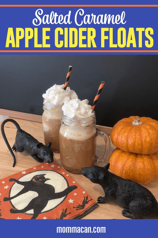 Salted Caramel Apple Cider Float – Creamy vanilla ice cream, salted caramel, and yummy apple cider. A fall dessert drink your family is going to love!