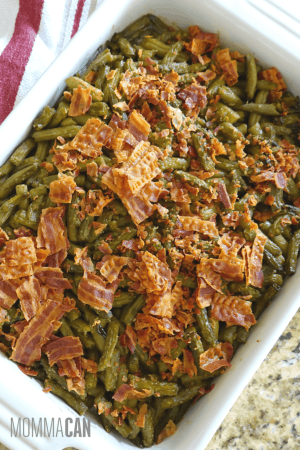 Southern Crack Smothered Green Beans recipe with canned green beans and brown sugar