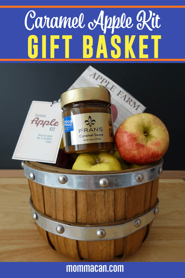 Make this simple Easy Caramel Apple Kit Gift Basket for friends and family this holiday season.  Download our free printable tags to complete this easy but tasty gift idea!