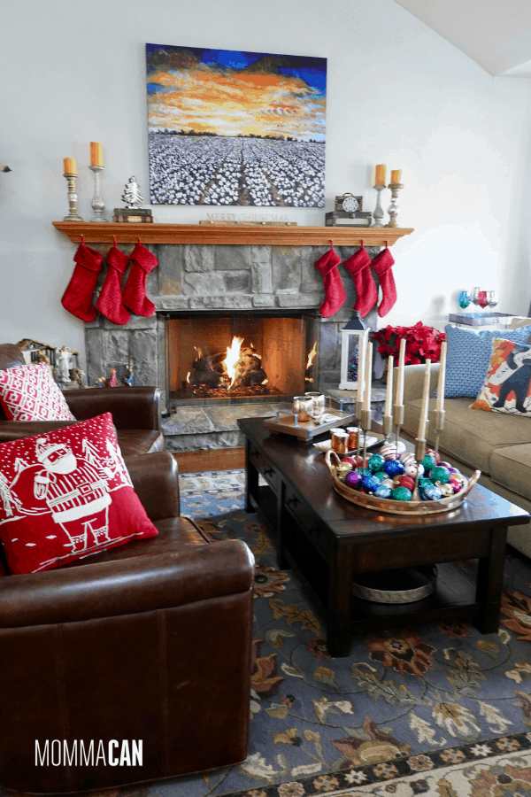 Christmas Home tour with beautiful High Cotton art print and red stocking. Capture wonderful family moments in the comfy California Christmas living space.