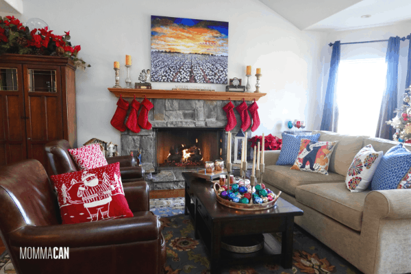Christmas family room with High Cotton Print, Red Pillows and California Bear Pillow