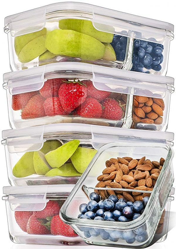 Glass Food Prep Containers 2 Part