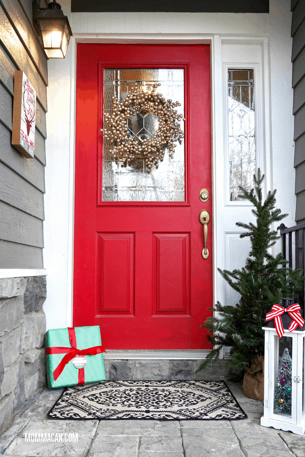 Front Entrance With Red Door Decorated For Christma