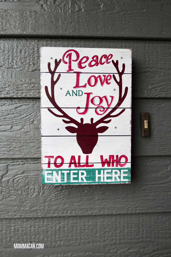 Christmas Front Entrance with Reindeer Peace, Love and Joy