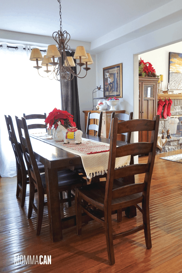 imple colorful Christmas dining room with red and white decor in a Christmas Room for busy moms and families.