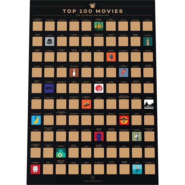 100 Tops Films Scratch Off poster men's gift