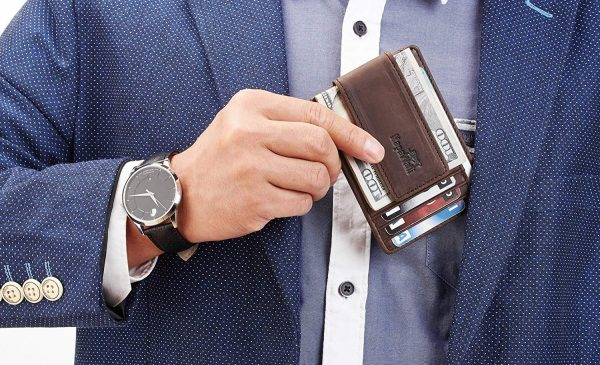 Leather Magnetic Front Pocket Money Clip Wallet RFID Blocking - Great Buy and perfect gift.