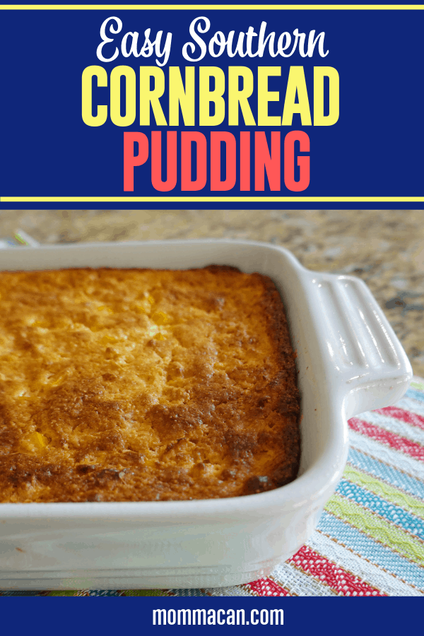 Southern Jiffy Cornbread Pudding Recipe is an easy and delicious side dish for holidays and family gatherings that feeds a crowd! We love serving it with pulled chicken and gravy and a good helping of green beans. A family favorite that is perfect for Thanksgiving, Christmas and any other day just for good eating.
