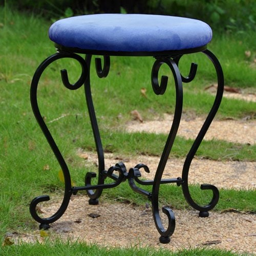 Indigo and Black Iron Vanity STool