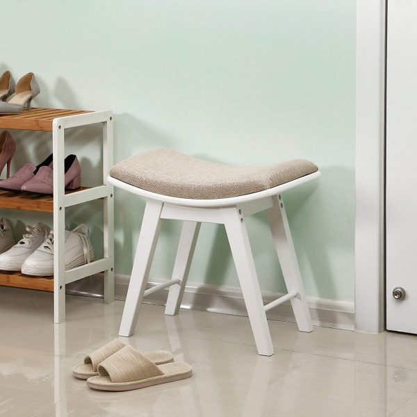 White Vanity Stool Small Walk-In Closet Bench Stool Seating Ideas