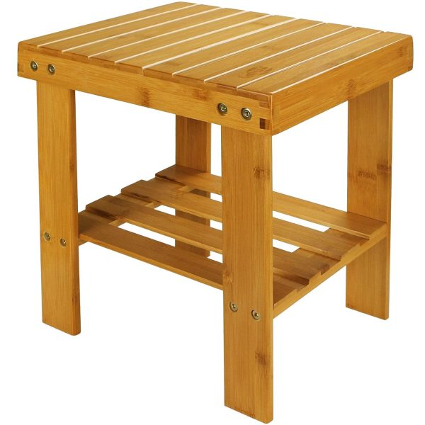 mall Bamboo Step Stool Shoe Bench Multi-functional