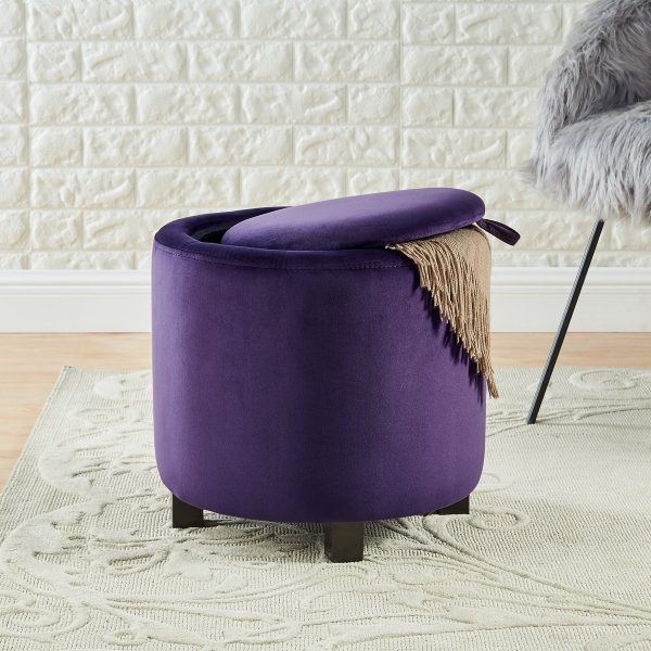 Royal Purple Velvet Round Storage Ottoman with Solid Wood Leg