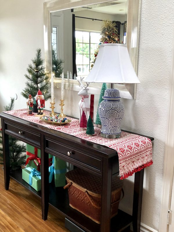 Small Entryway Decorate with Blue, White, Red, and golds for Chritmas