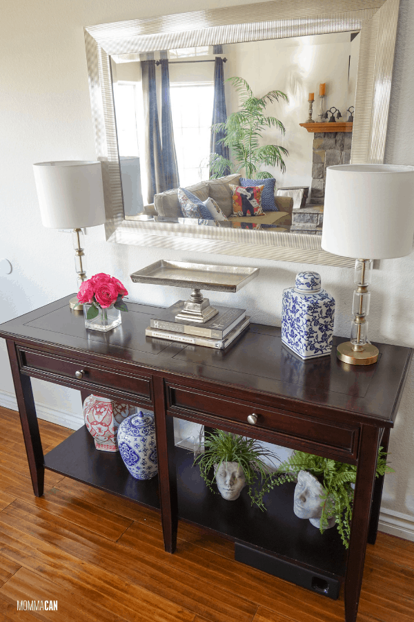Our simple entryway table decor with mirror has wonderful elements that can be used in many ways throughout the seasons to make our home beautiful. Check it out!