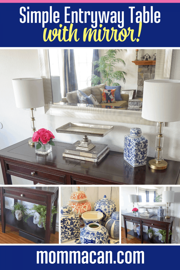 Simple Entryway Table Decor With Mirror and Head Planters