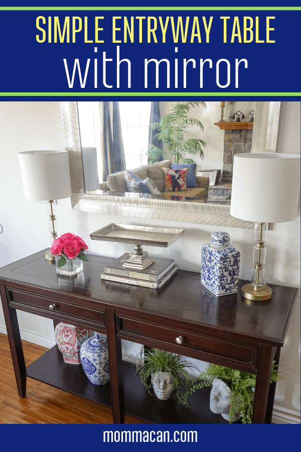 Simple Entryway Table Decor With Mirror with Head Planters and China