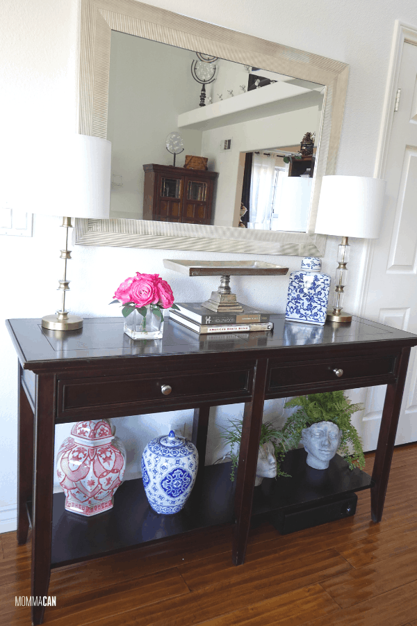 Simple Entryway Table Decor With Mirror and Blue and White Ginger Jars