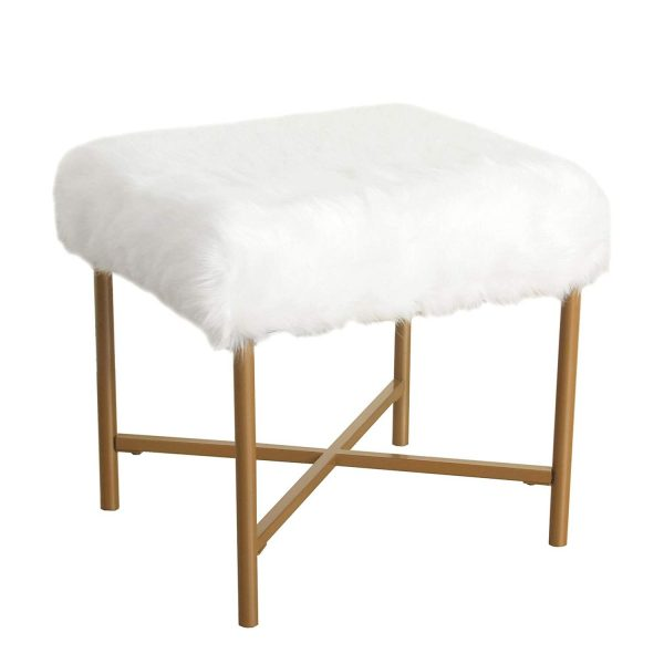 HomePop Square Faux Fur Stool, White