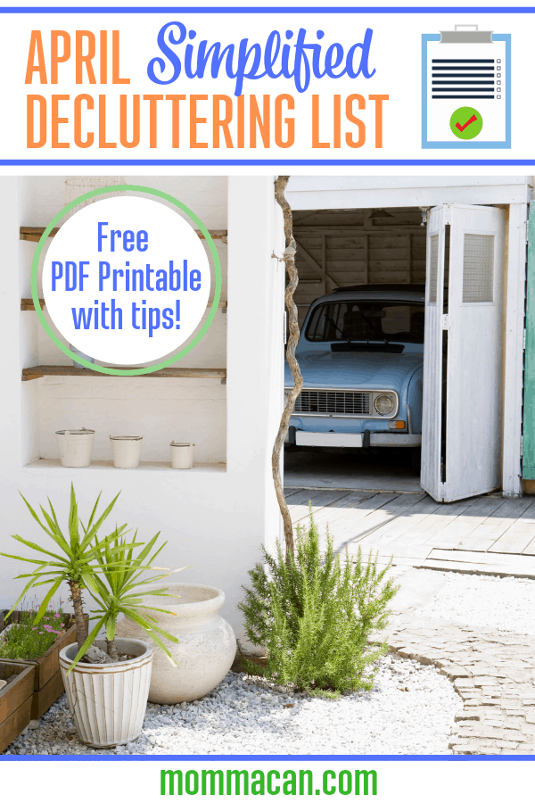 April Simplified Declutter List Garage Clutter