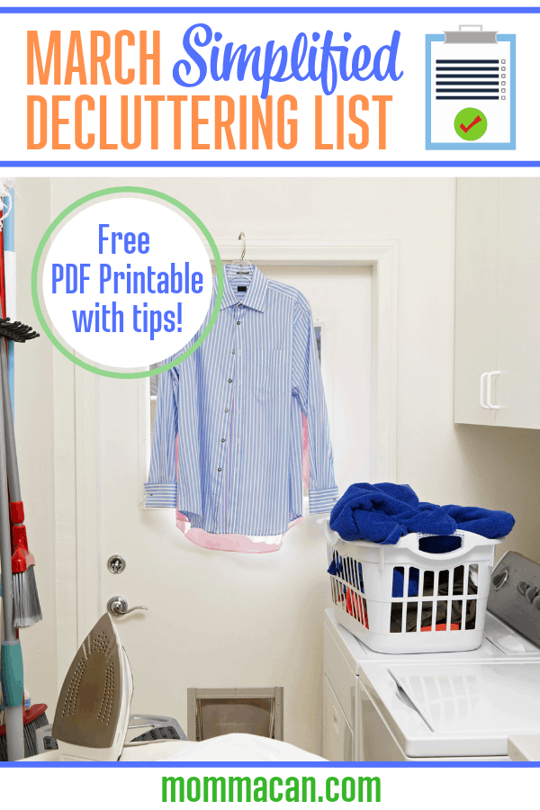 March Simplified Decluttering List Laundry Room Clutter