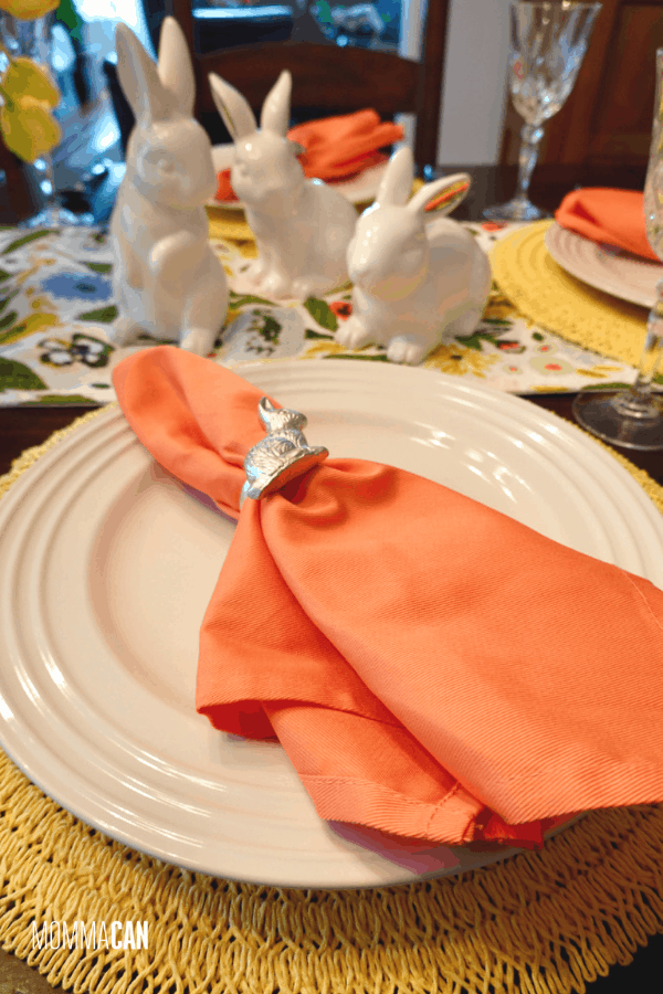 Orange Napkins for Easter Tablesetting