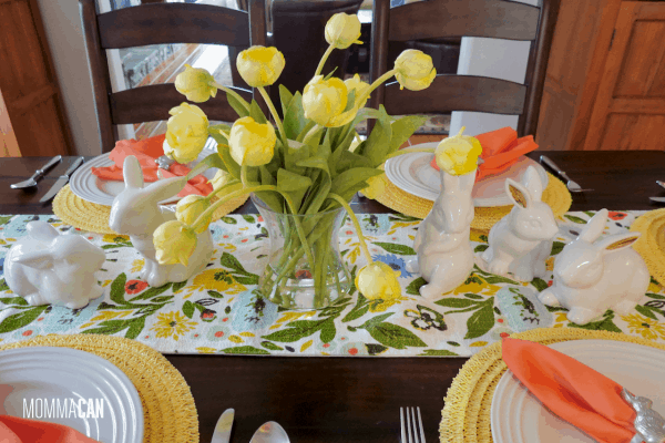 Simple Easter Bunny Tablescape