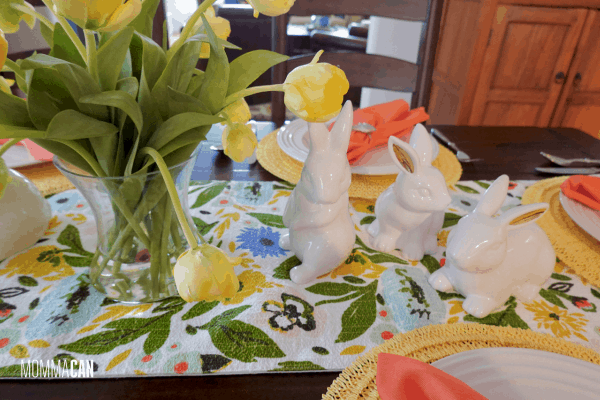 White Ceramic Bunnies Center Piece