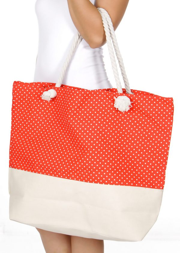 SERENITA Orange Polka Dot Tote