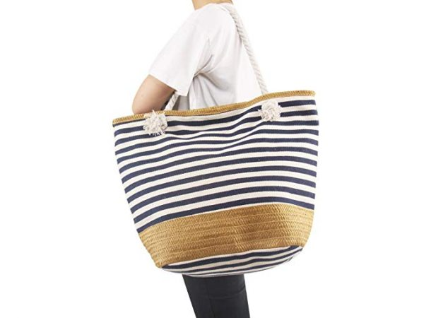 AmyHomie Large size straw striped canvas beach bag