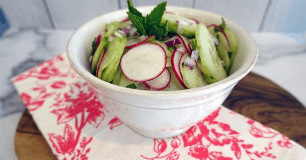 Cucumber, Radish, Red Onions and Mint Salad