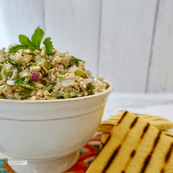 Lebanese Fattoush Tuna Salad Recipe with Toasted Pita and Mint