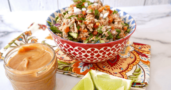 Thai Tuna Salad With Peanut Dressing am amazing salad perfect for Lent or lunch.
