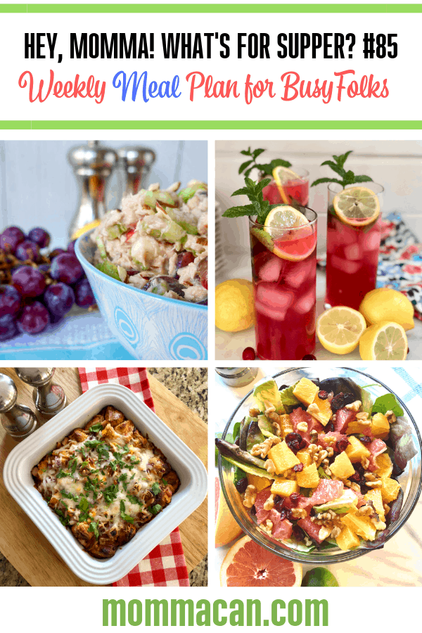 Weekly Dinner Ideas for Families with images of the meal ideas.