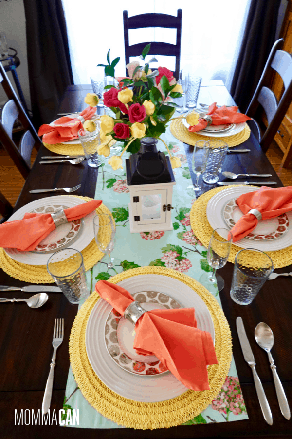 Peach and Yellow Mother's Day Tablescape