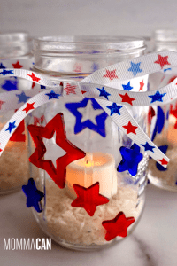 Patriotic Mason Jar DIY Candle Holder