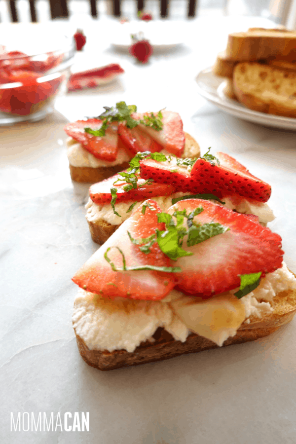 Strawberry Mascarpone Mint Honey Crostini