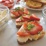 Strawberry Mascarpone Mint Honey Crostini