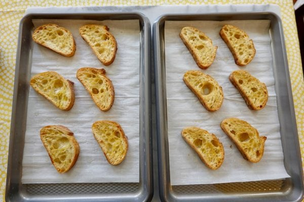 slice french bread to toast for crostinit