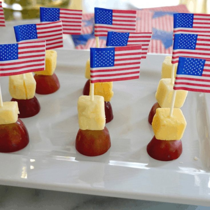 Easy Grape and Cheese Patriotic Appetizer with American Flag toothpick